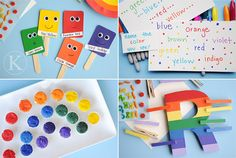 Rainbow activities - my fave is the Rainbow Friends puppets made from color chips!