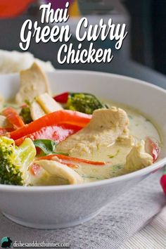 Thai Green Curry Chicken from dishesanddustbunnies.com