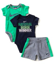 4bca7439b047 Nike Newborn-12 Months Born Winner Bodysuit 3-Piece Bodysuit Short Set Baby  Nike