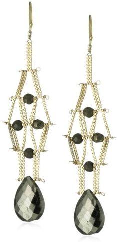 "Women's Fashion Jewelry Sandy Hyun ""Deco Semi-Precious"" Pyrite Drop Earrings"