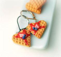 Love Waffle Dangle Earrings. Handmade Miniature Polymer Clay Food Jewelry
