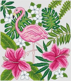 Flamingo cross stitch.