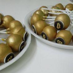 #pops #cakepops #gold #bitcoin #cake #dlish Cakepops, Fruit, Gold, Cake Pop, Cake Pops, Yellow
