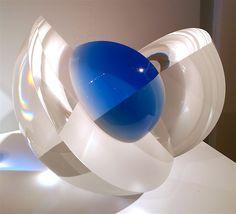 :: HABATAT GALLERIES :: Florida Artist: Martin Rosol, Title: Blue Orbit, Dimensions: 9 x 10 x 10 in. Glass sculpture