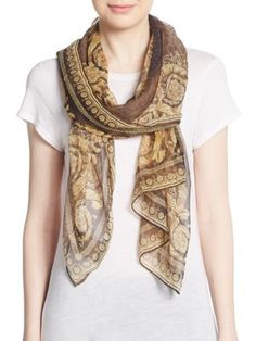 VERSACE Leopard Baroque-Print Silk Scarf. #versace #scarf