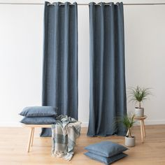 Every room needs the perfect set of curtains to finish off its look. Our Terra linen curtains come in a choice of 8 elegant colours and will add a natural, easy-going charm to your home! Blue And Green Curtains, Green Kitchen Curtains, Blue Curtains Living Room, Navy Curtains, Living Room Update, Living Room Inspiration, Table Linens, Elegant, Bespoke