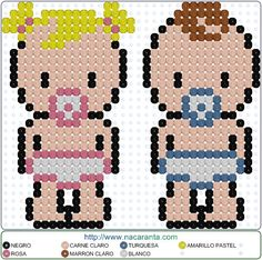 Baby girl and boy Hama Beads Design, Hama Beads Patterns, Beading Patterns, Peyote Patterns, Beaded Cross Stitch, Cross Stitch Embroidery, Cross Stitch Patterns, O Beads, Fuse Beads