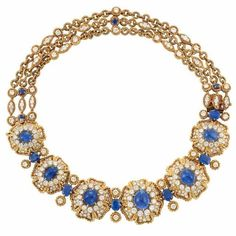 Gold, Cabochon Sapphire, Sapphire and Diamond Necklace/Bracelet Combination, Van Cleef & Arpels -- Composed of six graduated domed diamond-set stylized flower panels edged with rope-twist gold, centering 6 oval cabochon sapphires approximately 31.50 cts., surrounded by round diamonds, spaced by 6 oval sapphires approximately 8.75 cts., completed by three strands of rope-twist gold circle links, signed VCA, NY, no. 41022.8, chain section detachable #saphirebracelet #sapphirebracelet