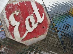 Retro kitchen decor, Collectible EAT Sign for your diner ©LeeAnn Gauthier / Red Eat by StudioGauthier