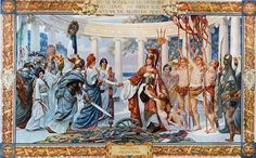 """bantarleton: """"  Detail from one of a series of murals that hang at the top the grand staircase in the Foreign Office, Westminster. """"Perhaps the most vivid expression of the triumphalist post-war mood in 1918 is Sigismund Goetze's grandiose..."""