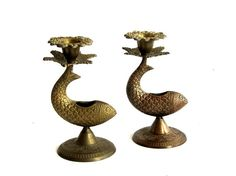 My Vesties Wish List Item Vintage Brass Fish Candlestick Holders Incense by EncoreEmporium