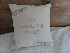 Fly Above the Stars Airplane Pillow by FindingSilverPennies, $20.00