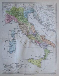 1888 ITALIEN ZEIT DES KAISERS AUGUSTUS alte Landkarte Antique Map
