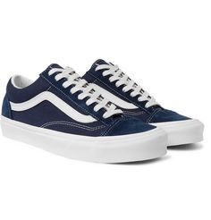 Vans Ua Style 36 Leather-trimmed Canvas And Suede Sneakers In Navy Navy Blue Vans, Navy Blue Sneakers, Navy Shoes, Men's Vans, Vans Sneakers, Suede Sneakers, Vans Style, Vans Shop, Vans Old Skool