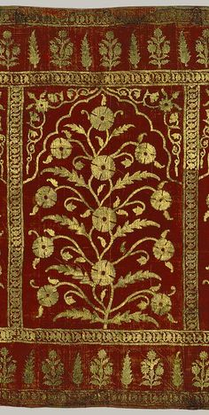 Floral tent panel, Mughal period (1526–1858), ca. 1616–35 India Silk, gold; cut velvet, painted;