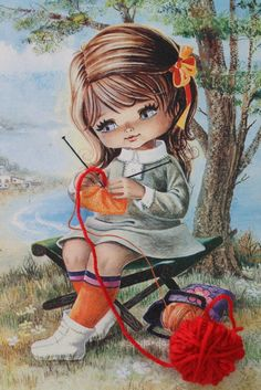 This reminds me of my dear little Carrie.getting to make crafts in a quiet place by the water. Images Vintage, Vintage Pictures, Vintage Cards, Vintage Postcards, Art Pictures, Photos, Sarah Kay, Baby Painting, Sewing Art