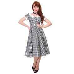 Collectif Madeline Black White Gingham Summer Dress