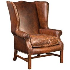 Leather Wingback Chair.  sc 1 st  Pinterest & Traditional Wing Back Leather Chair w Nailhead Trim Wood Legs ...