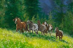 """Some Lead by Nancee Jean Busse Acrylic ~ 24"""" x 36""""Original Montana Landscape Painting, Horse Art """"Some Lead"""" by Nancee Jean Busse, Painter of the American West"""