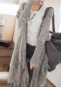 Oversized Fringed Cardigan I like this sweater.