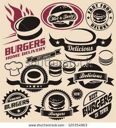 Fast+Food+Logo+Design | ... design elements. Vector collection of fast food badges. - stock vector