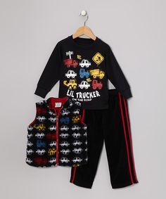 Look at this Black Truck Vest Set - Infant