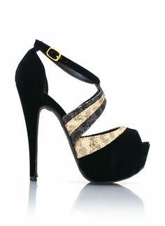 Strappy velvet and glitter heels from GoJane