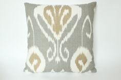 For the living room - Grey Tan Designer Decorative Ikat Pillow by ThePillowStudioShop, $90.00
