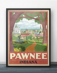 Pawnee Travel Poster  Inspired by Parks and by WindowShopGal