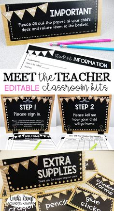 Meet the Teacher Editable Stations & Parent Forms Back to school night can be as overwhelming as it is exciting. Take the stress out of Meet the Teacher open house with these completely editable classroom kits. Collect the back to school info you need wi Back To School Night, 1st Day Of School, Beginning Of The School Year, 4th Grade Classroom, Kindergarten Classroom, Future Classroom, Classroom Decor, Classroom Organization, Classroom Management