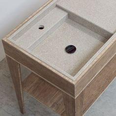 Umi L Box single sink + tap base | Breccie - Wastafel uit natuursteen op bamboe onderstel #bamboe #wastafel #natuursteen