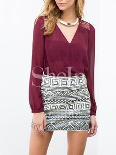 Wine Red Long Sleeve With Lace Blouse 11.99