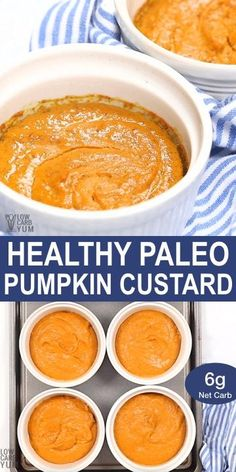 Giving up dairy and sugar doesn't mean you can't enjoy fall treats. Check out this healthy paleo pumpkin custard recipe that's also low carb and keto. Pumpkin Recipes, Fall Recipes, Beef Recipes, Cooking Recipes, Cooking Ideas, High Protein Recipes, Low Carb Recipes, Healthy Desserts, Healthy Recipes