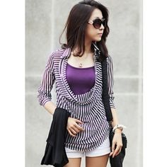 Korean Style Women Long Sleeve Lapel Black Cotton Shirt One Size... ($15) via Polyvore
