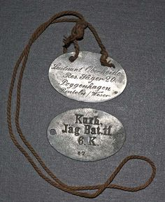 dog tag variations - Page 2 - Germany: Imperial Uniforms, Headwear, Insignia & Personal Equipment - Gentleman's Military Interest Club Dog Tags Military, Wwi, Personalized Items, Heroines, Exhibit, Magazines, Germany, Club, History