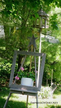 Garden art easels are a great way to display garden art and flowers in your garden. Come see the gallery of ideas plus a frugal $10 project for making your own.