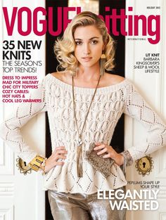 Finally!!!! Here's our EARLY FALL issue cover!!! Design is by Laura Zukaite in Classic Elite's VAIL!   It's an easy lace design with almost no shaping. All you do is sew the diamonds together to create the smocking!!!
