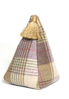 door stop - tartan and tweed fabric