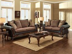 """SOFA SM7635-SF SAN ROQUE COLLECTIONCreate a refreshingly traditional space in your home with this elegant two piece set. The gold and brown fabric with intricate patterns coupled with an espresso leatherette base delivers a stunning visual focus for your living room.• Traditional Style • Rolled Arms • Pillows Included • Intricate Wood Trim • Gold/Brown Fabric • Espresso LeatheretteDIMENSIONS:SOFA W/ PILLOWS [SM7635-SF] 85""""L X 36""""W X 36""""HLOVE SEAT W/ PILLOWS [SM7635-LV] 63""""L X 36""""W X 36""""H3…"""