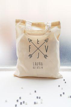 Mini tote bag EVJF personnalisé. Petit sac 100% coton idéal comme cadeau pour les participantes à l'enterrement de vie de jeune fille.
