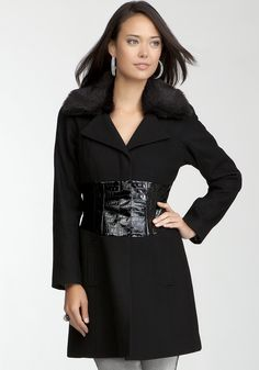 bebe | Crocodile Corset Wool Coat - Jackets & Coats