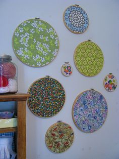 fabric circles...great decorating idea for scrap fabric etc