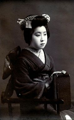 Maiko Kaneko 1910s. Kaneko a Maiko (Apprentice Geisha) from Osaka, her name is written in pencil on the back of this postcard and she is named in two other postcards.