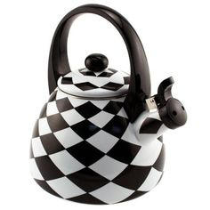 Add some whimsy to your kitchen with this fun and functional tea kettle from Supreme Housewares. Made of heavy gauge stainless steel, it has an enamel finish. With a black and white checkered diamond pattern, it is a traditional kettle that whistles when your water has boiled. It also has an arched handle, and should be washed by hand to preserve its design.