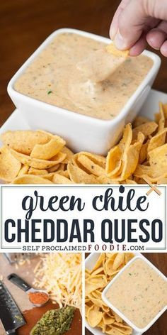 This spicy and creamy Green Chile Cheddar Queso made with real sharp cheddar cooks up in just minutes and is the perfect cheese sauce for nachos or tacos. Yummy Appetizers, Appetizers For Party, Appetizer Recipes, Mexican Appetizers, Dinner Recipes, I Love Food, Good Food, Yummy Food, Tasty