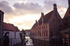 Gorgeous sunset view of Brugge (Bruges), Belgium in winter for Christmas over the canal