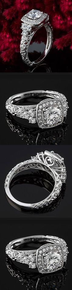 Wedding rings: 1 Carat D Si Diamond Engagement Ring Round Cut 14K White Gold Enhanced -> BUY IT NOW ONLY: $899.5 on eBay!