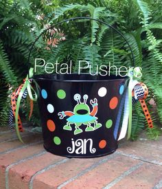 Personalized Halloween Bucket....Silly Monsters!  Find me on Facebook at Petal Pushers, Greenville, SC.