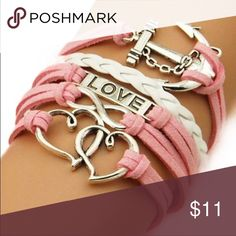 Layered bracelet pink anchor cross love infinity Layered bracelet pink anchor cross love Nwt Jewelry Bracelets