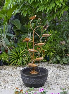 35 Graceful MultiTier Modern Floral Leaf Outdoor Patio Garden Water Fountain >>> Check this awesome product by going to the link at the image. (This is an affiliate link and I receive a commission for the sales) #OutdoorFurniture